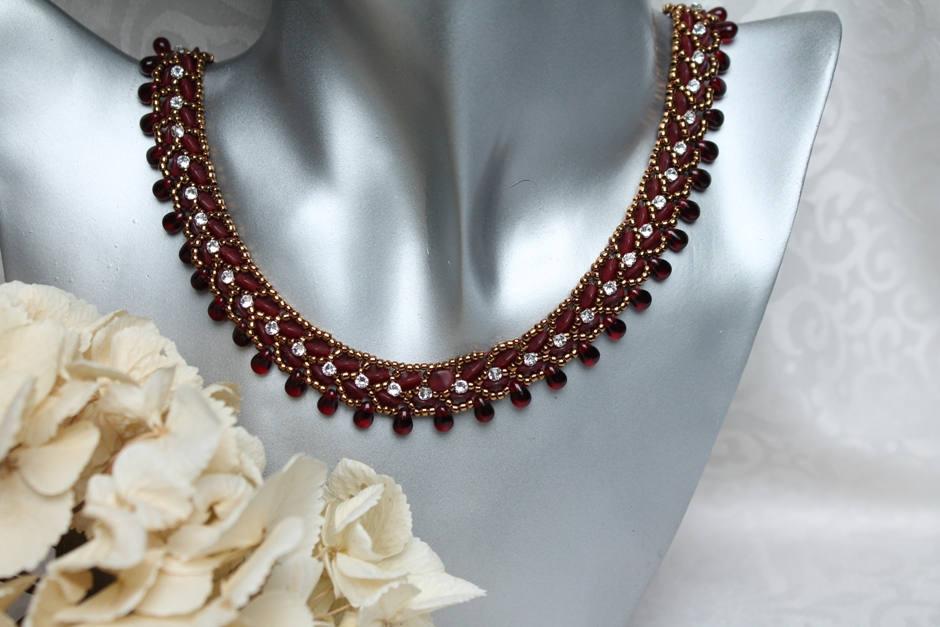 Chaine Chaine Chaine kit DIY «June» (Nr. 1) créative mis grenade rubis argent bronze déclaration bricolage collier fabrication de bijoux Bracelet Collier de perles e2aa6c