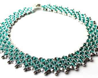 "DIY Kit Chain ""Sabine"" (No. 2) Creativeset, silver Green, make yourself, statement chain, jewelry making"
