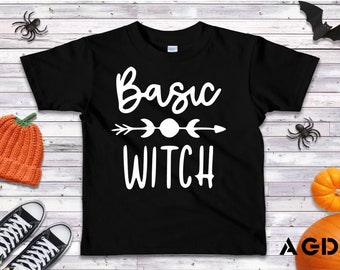 Basic Witch, Funny, T-Shirt, Onesie, Halloween, Modern, Cool, Kids, Toddler, Infant, Tee