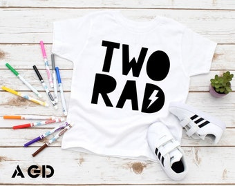 Two Rad - Birthday Shirt, Kids, Toddler, Hipster Tee, Party, Two Cool, Two Legit, Two Years Old