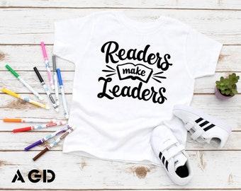 Readers Make Leaders, Kids, Toddler, Infant, Tee, T-Shirt, Onesie, Back To School, Kindergarten, Preschool