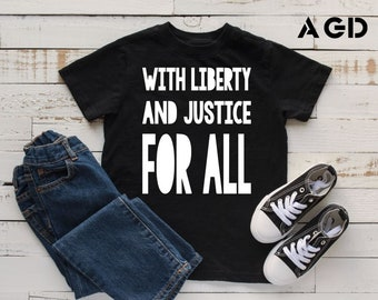 With Liberty and Justice for All, Kids, Toddler, Hipster Tee, Activist, Feminist, Black Lives Matter, AAPI
