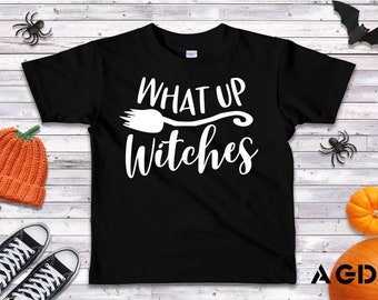 What Up Witches, Funny, T-Shirt, Onesie, Halloween, Modern, Cool, Kids, Toddler, Infant, Tee