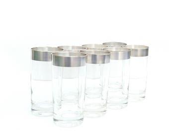 Mid Century Modern Silver Rimmed Tallboy Glasses (set of 8)