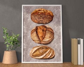 Bread Artwork Print - Kitchen watercolour food illustration decor - Perfect Bakers gift