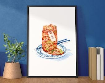 Kimchi Lovers artwork print - Korean Watercolour food illustration - Foodie kitchen art