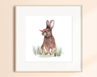Rabbit with Butterfly Watercolour Wildlife Artwork Print