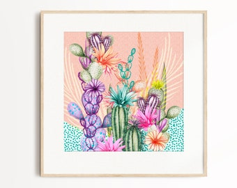 Bright Vibrant Floral Cactus Art Print