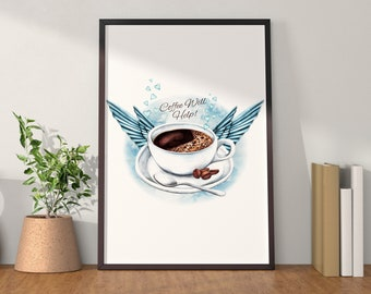 Coffee Helps - Watercolor Artwork kitchen Print