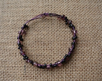 Purple and Black Beaded Bracelet