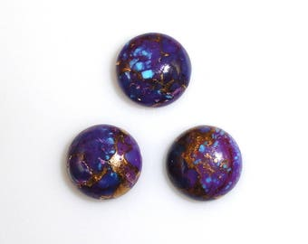 Purple Copper Turquoise Cabs Round 5mm Approximately 9 Carat December Birthstone Purple Color Accented with Gold and Copper Tones 9128