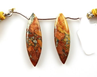 Finest Quality Beautiful Gold Accents 35609 Copper Calcite Drop Leaf Shape 36x19mm Drilled Bead Single Pendant Piece Silky Luster