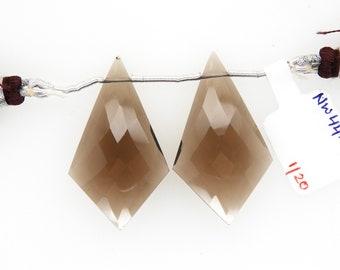 Earrings Pair DIY Jewelry Making Beads 4 Pcs 30x8mm Natural Smoky Quartz Faceted Elongated Teardrop Briolettes Semiprecious Gemstone