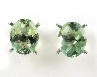 4.85 Carat Green Amethyst Oval Shape Stud Earring In 14k White Gold,February Birthstone,Amegreen, Veregreen, Leek green, Focal Stone(145138)