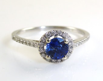 0.55 Carat Ceylon Sapphire And Diamond Ring In 14K White Gold, September Birthstone Ring, Anniversary/Birthday Gift, Cocktail Ring (144832)