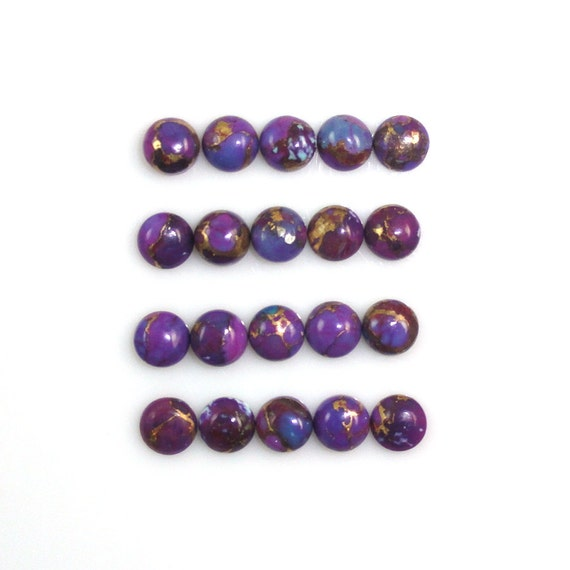 Purple Color Accented With Gold And Copper Tones December Birthstone 9132 Purple Copper Turquoise Cab Round 10mm Approximately 10 Carat