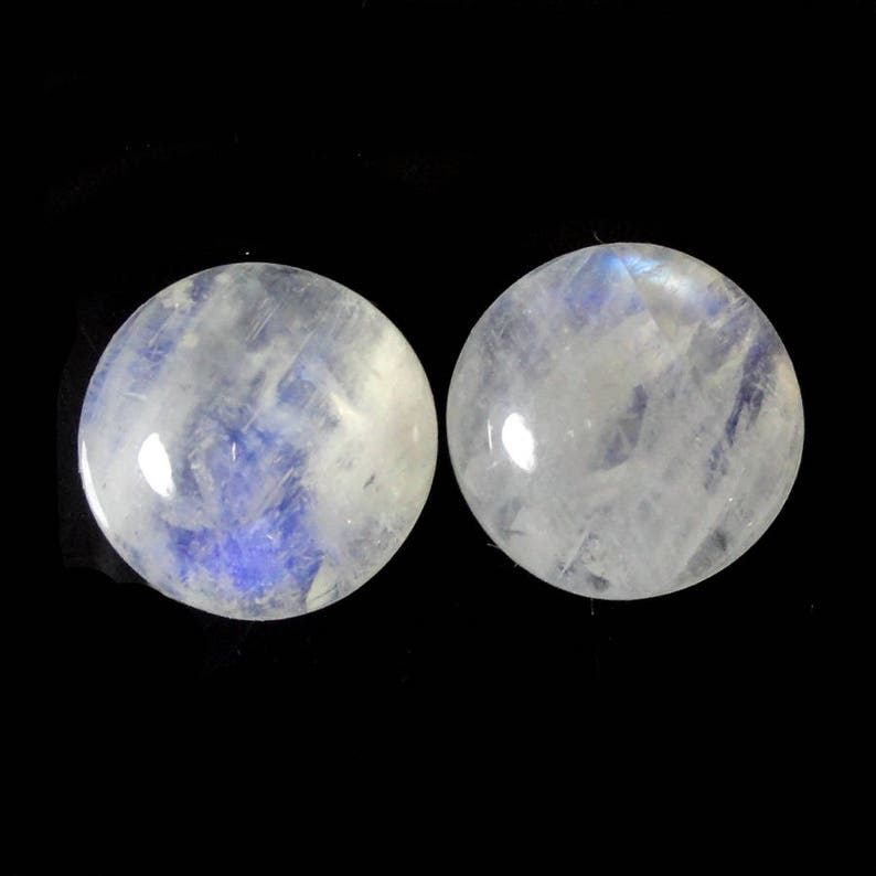 Rose Cut Round Shape Cabochon Size 14x14 mm Matching Pair Milky Moonstone Good Quality