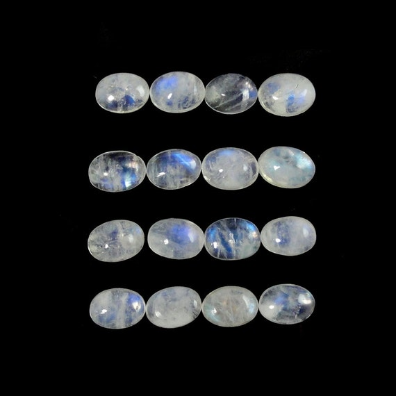 7x5 mm Oval Cabochon AAA Moonstone Cabs Silver Jewellery Moonstone Cabochon wire wrap stone 6 Pcs Oval Shape Natural Moonstone Rainbow