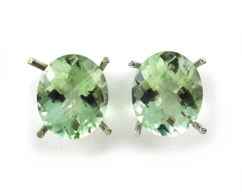 8.64 Carat Green Amethyst Oval Shape Stud Earring In 14k White Gold,February Birthstone,Amegreen, Veregreen, Leek green, Focal Stone(145139)