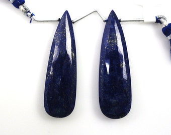 Lapis Lazuli Drops Almond Shape 49x14mm Matched Pair Drilled Beads (3420)