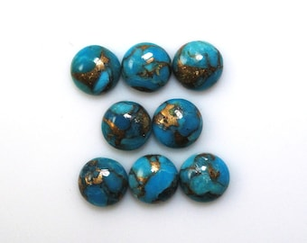 Blue Copper Turquoise Cabs Round Shape 7mm Approx. 9 Carat, December Birthstone, Blue Color Accented with Gold Tones, Ornamental Stone(5467)