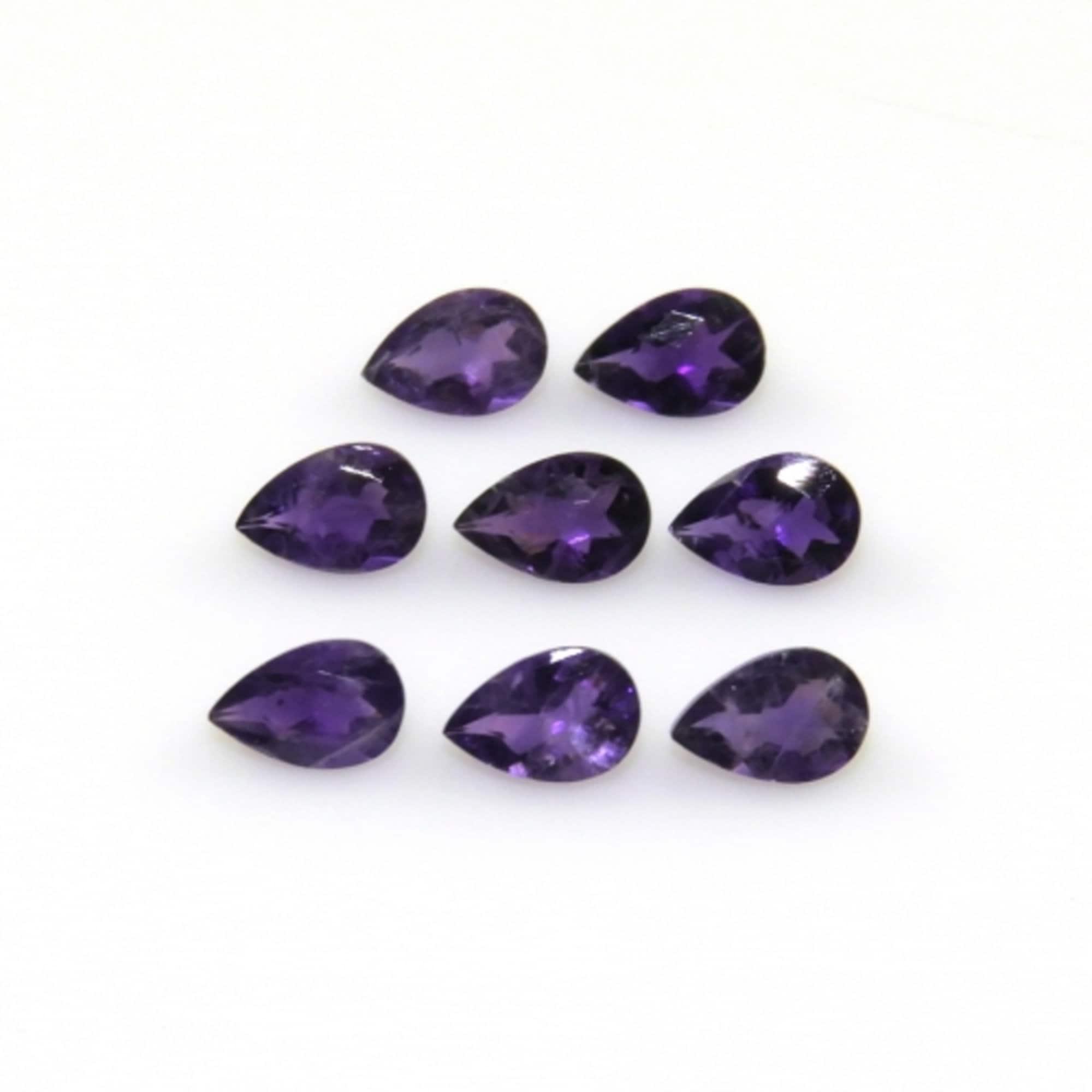 Amethyst Faceted Pear Briolettes 3 Brazilian Purple Semi Precious Gemstone February Birthstone