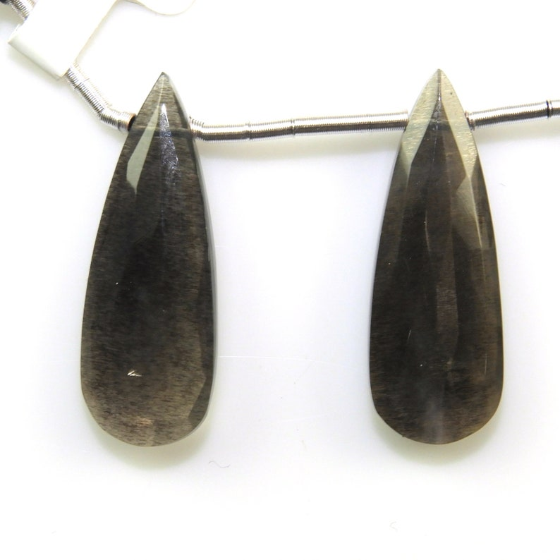 18186 Black Moonstone Almond Shaped Drops 29x10mm Matching Pair Drilled Beads Excellent Color