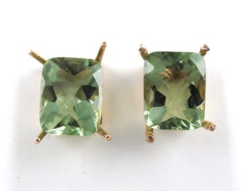 5.75 Carat Green Amethyst Stud Earring In 14k Rose Gold, February Birthstone, Amegreen, Veregreen, Leek green,Focal Stone(145137)