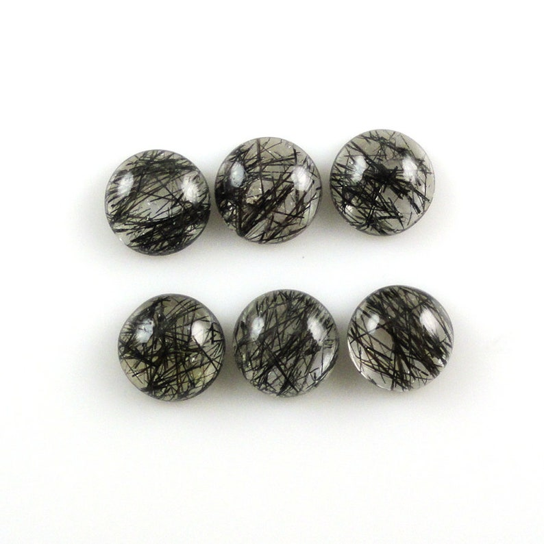 9 Carat Perfect Ornamental Piece 16183 Beautiful Black Threads Excellent Luster Black Rutilated Quartz Cabs Round Shape 8MM Approx