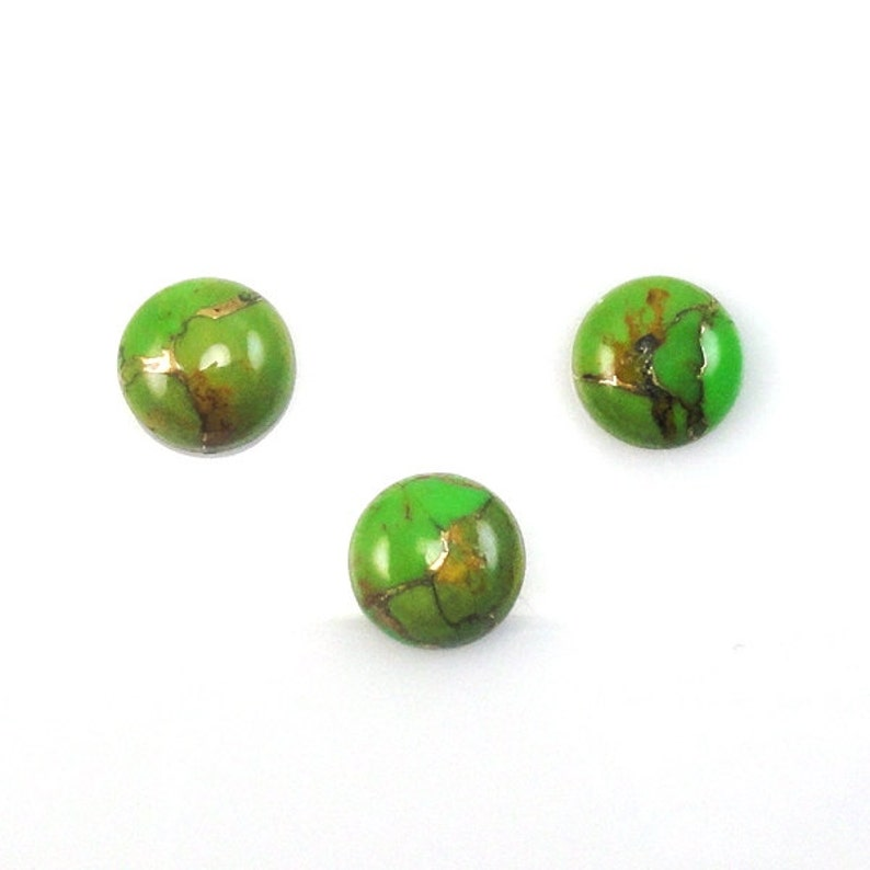 9.00 Carat Vibrant Green Color Accented with Golden Tones Green Copper Turquoise Cabs Round Shape10mm Approx 4754 December Birthstone