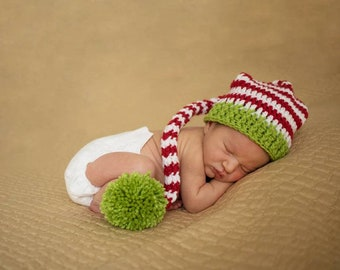 f8dfbfbba64 Christmas Baby Hat - Baby Elf Hat - Christmas Photo Prop - Newborn Stocking  Hat - Long Tail Hat - Baby s 1st Christmas - Striped Newborn Hat