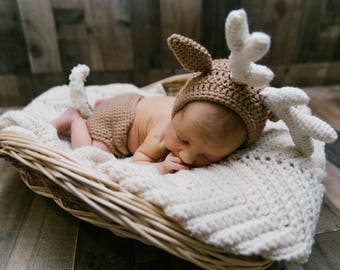 f9a0cfa37 Newborn Deer Costume - Baby Deer Costume - Woodland Nursery - Baby Animal  Costume - Baby Antler - Hunter Photo Prop - Baby Deer Costume