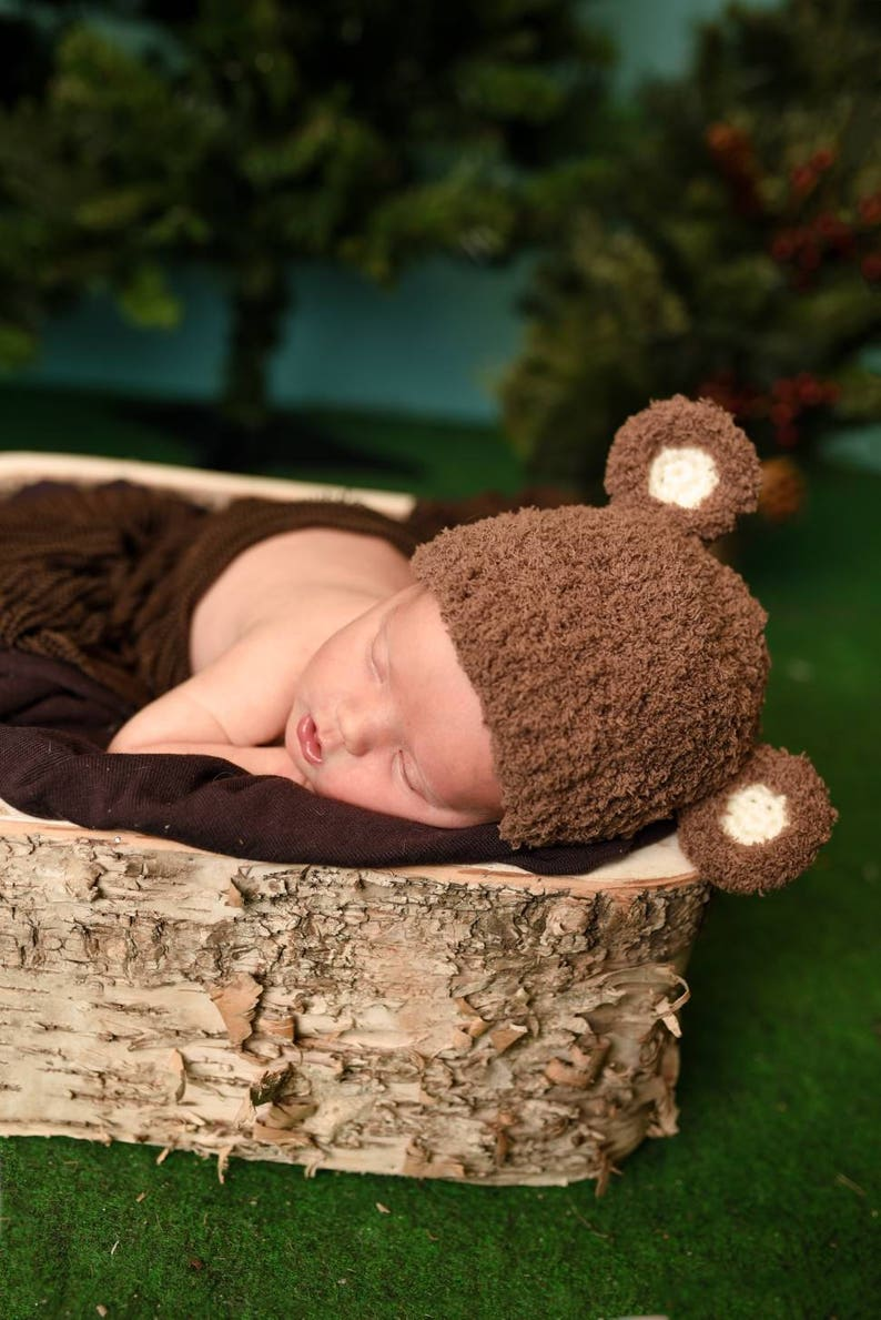 Newborn bear hat baby bear hat bear photo prop woodland baby gift teddy bear baby shower gift gender reveal hat