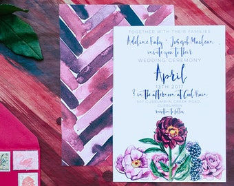 Wedding Invitation, Printed Wedding Invitation, Boho Wedding Invitations, Wedding Invite, Wedding Invite, Floral Wedding Invitation, 1304
