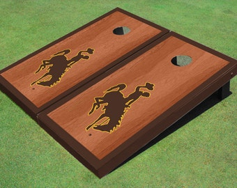 Great for Tailgates Wyoming State Stained Cornhole Boards Birthday SALE Made in USA Backyard Parties College