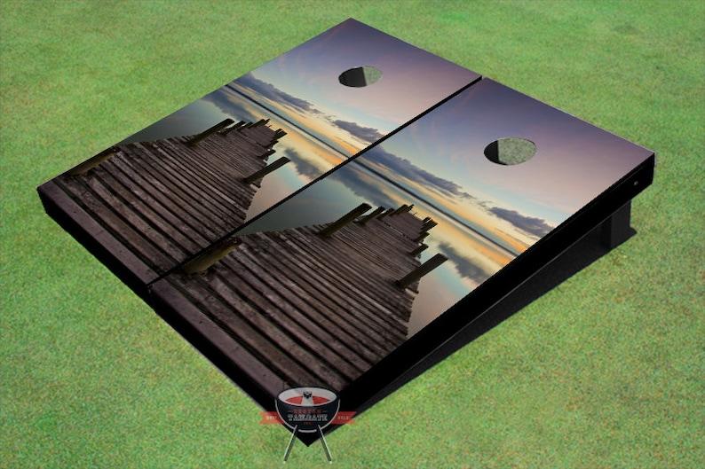 Custom Corn Hole Dock Sunset Graphic Cornhole Boards