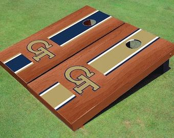 Georgia Tech Rosewood Alternating Long Stripe Cornhole Boards