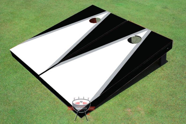 Painted Corn Hole White and Black Matching Triangle Cornhole Boards