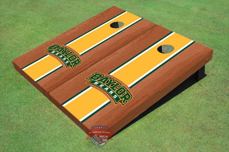 Corn Hole NCAA Baylor University Arch Yellow Rosewood Matching Long Strip Cornhole Boards BU-9020