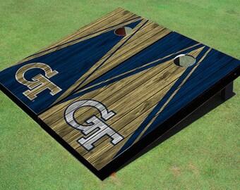 Georgia Tech Alternating Wood Look Triangle Cornhole Boards