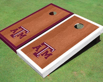 Texas A&M Rosewood Alternating Border Cornhole Boards