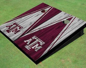 Texas A&M Alternating Wood Look Triangle Cornhole Boards