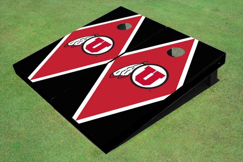 University Of Utah U Red And Black Matching Diamond Themed Cornhole Boards