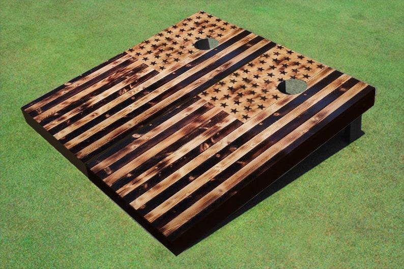 American Flag Burned Wood Look Custom Cornhole Boards