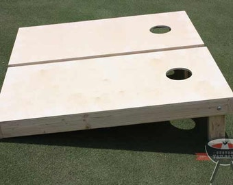 Non Painted / Unfinished Cornhole Boards With Your Choice of Any Color of Corn Filled Bags