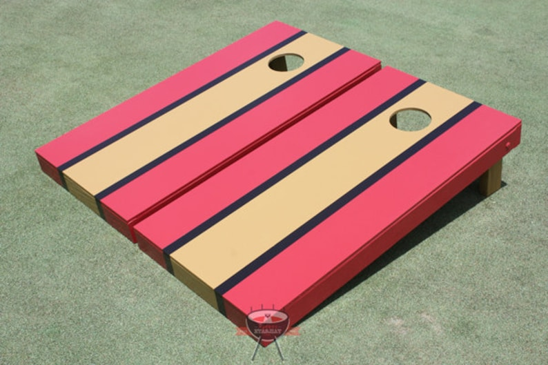 Painted Corn Hole Red and Black Matching Long Stripe Cornhole Boards