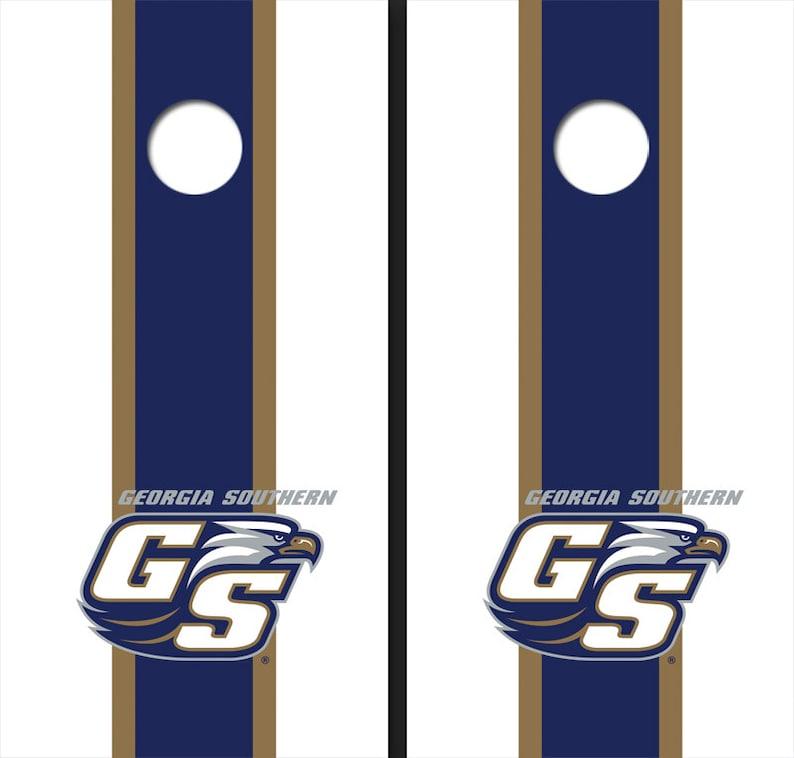 NCAA Georgia Southern University GS Blue And White Matching Long Stripe Cornhole Boards