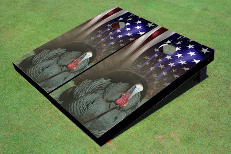 Custom Corn Hole American Flag With Turkey Graphic Cornhole Boards