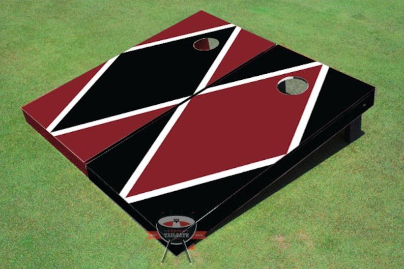 Painted Corn Hole Maroon and Black Alternating Diamond Cornhole Boards