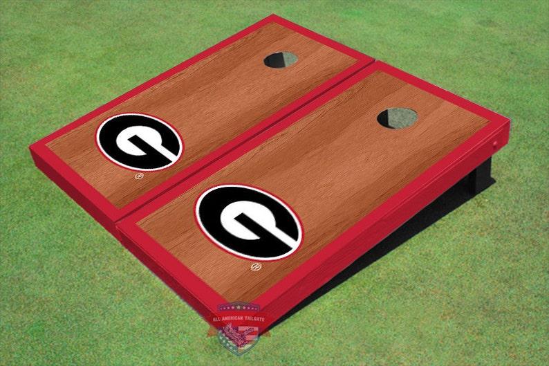 University Of Georgia G Red Rosewood Matching Borders Cornhole Boards